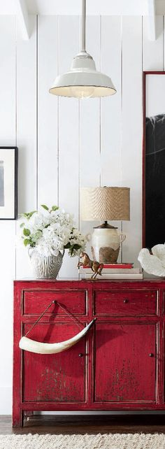 Rustic Console In Red