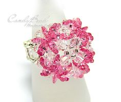Sweet Sparkling Pinky Flower Ring by CandyBead by candybead