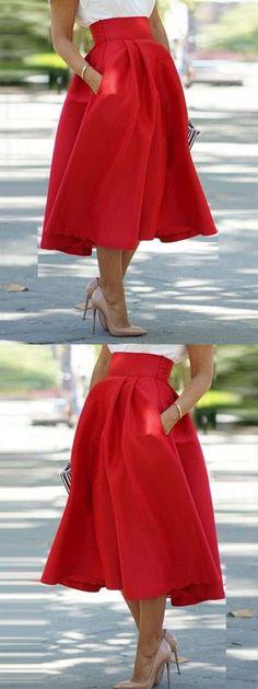 Red High Waist Pocket Skater Midi Skirt