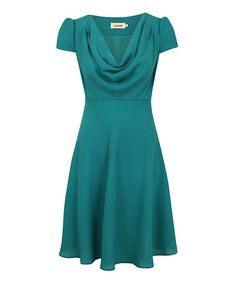 Take a look at this Green Button-Back Cowl Dress by Louche on #zulily today!