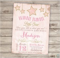 12 Printed with Envelopes Twinkle Twinkle Little Star Birthday Invitations First Birthday Girl Birthday Party Modern cute Gold Glitter pink by OffspringTrendz on Etsy https://www.etsy.com/listing/223174359/12-printed-with-envelopes-twinkle
