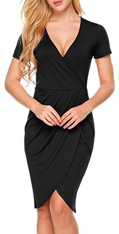 bea5504c3d7cc  22.99 Burlady Womens Sexy Deep V Neck short sleeve Draped Ruched Dress  with Front Slit at