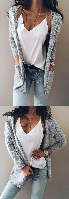 Chicnico women's knit going out street chic gray long sleeve cotton fall sweaters cardigan fall fashion 2017 trend cheap online store Fashion Moda, Fashion 2017, Look Fashion, Trendy Fashion, Fashion Outfits, Womens Fashion, Ladies Fashion, Feminine Fashion, Fashion Advice