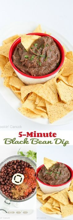 5-Minute Black Bean Dip...Only 80 calories and 2 Weight Watchers points per serving! | cookincanuck.com #recipe #vegan