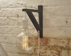 Wall Sconce White Over Brass Light Lamp Industrial Retro Vintage Solid Wood Rustic Wall Sconces, Bathroom Wall Sconces, Candle Wall Sconces, Wall Sconce Lighting, Plug In Wall Lights, Plug In Wall Lamp, Wireless Wall Sconce, Support Mural, Lamp Socket