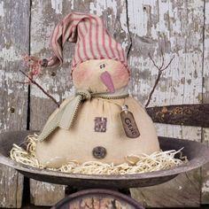 Small Salvage Sam Half Body Scarecrow - Honey and Me, Inc. Wooden Snowmen, Primitive Snowmen, Primitive Crafts, Primitive Christmas, Christmas Snowman, Christmas Crafts, Christmas Decorations, Christmas Ornaments, Primitive Stitchery