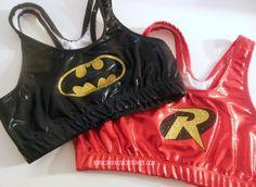 Batman and Robin Metallic Sports Bra Set Cheerleading, Yoga, Running, Working Out on Etsy, $49.00
