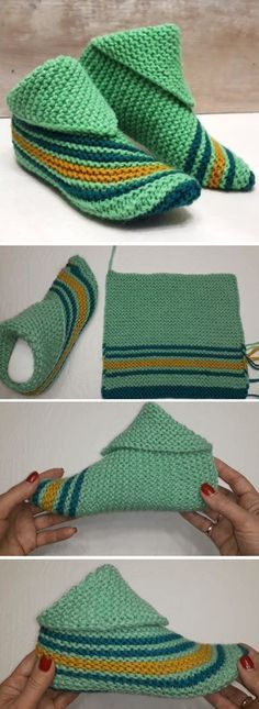 Slippers Free Pattern – Handmade Paris - Socken und Schuhe, knitted and crochet socks - Perfect Knitting Patterns Knit Slippers Free Pattern, Crochet Slipper Pattern, Knitted Slippers, Crochet Slippers, Knitted Hats, Crochet Patterns, Knitting Patterns, Slipper Socks, Knitting Projects