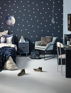 How to design a space-themed kid's room with cool glow-in-the dark paint Mini astronauts can take a bedtime trip to the Milky Way in this space-themed bedroom spangled with glow-in-the-dark stars Boys Space Bedroom, Outer Space Bedroom, Boys Bedroom Furniture, Blue Furniture, Furniture Outlet, Discount Furniture, Cool Kids Rooms, Kids Room Paint, Cool Boys Room