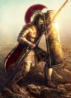 The golden knight in Arthurian legend. Fantasy Warrior, Greek Warrior, Fantasy Art, Spartan Tattoo, Spartan Warrior, Samurai Warrior, Roman Warriors, Templer, Roman Soldiers