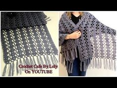 Let's learn together your own fashion accessories, basic and other creative points, techniques and tips to learn or develop the art of crochet and kni. Crochet Poncho Patterns, Crochet Shawls And Wraps, Crochet Cardigan, Knitted Shawls, Crochet Scarves, Crochet Clothes, Crochet Stitches, Knit Crochet, Embroidery Neck Designs