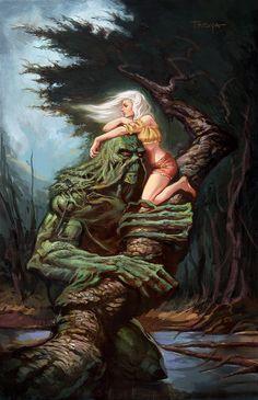 Swamp Thing and Abby, Lucas Troya on ArtStation at https://www.artstation.com/artwork/bb5gv