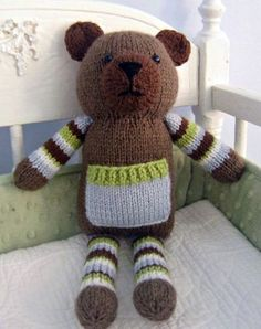 Knitting Pattern for Pocket Bear - #ad Amy Gaines' teddy bear softie has his own little pocket for special treasures. 13 inches tall