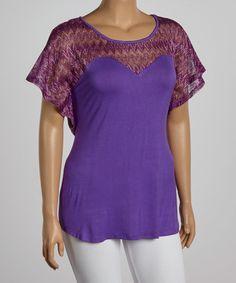 Look at this #zulilyfind! Purple Chevron Cape-Sleeve Top - Plus by Yummy #zulilyfinds