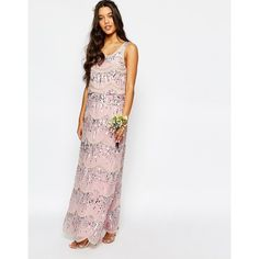 Maya Chiffon Maxi Dress with Embellishment ($214) ❤ liked on Polyvore featuring dresses, crystal pink base, white maxi dress, petite dresses, white sequin cocktail dress, tall maxi dresses and pleated maxi dress