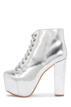 Jeffrey Campbell Shoes LITA Vault in Silver Mirror