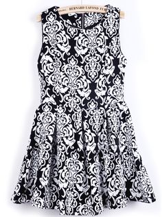 Black and White Sleeveless Tribal Florals Print Dress - Sheinside.com