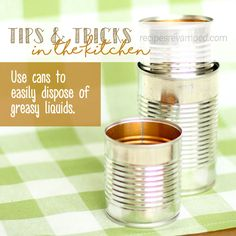 Tips & Tricks: Disposing of Greasy Liquids in Cans - As tempting as it is to send that kitchen grease down the sink, it is best not to do it at all. Kitchen grease and oils are some of the main causes of pipe buildups that can lead to clogs and backups that require a plumbers know-how and handy gadgets to get fixed. No one wants to deal with plumbing repairs more than we have to, right? Right. - Recipes Revamped