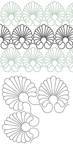 Feather Shell Border and Corner - Digital - Quilts Complete - Continuous Line Quilting Patterns