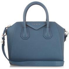 Givenchy Antigona small leather tote (2,760 CAD) ❤ liked on Polyvore featuring bags, handbags, tote bags, givenchy, blue, givenchy tote, genuine leather tote, genuine leather purse, pocket tote and blue purse
