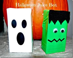 Frankenstein and Ghost juice boxes Halloween Food Crafts, Classroom Halloween Party, Fröhliches Halloween, Halloween School Treats, Halloween Favors, Halloween Activities For Kids, Halloween Crafts For Kids, Halloween Pumpkins, Halloween Juice