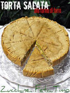 I biscotti della zia: Torta salata alla farina di farro, zucchine, feta e timo