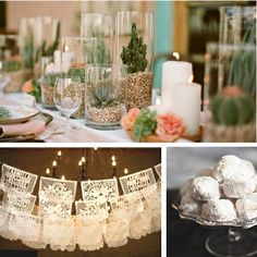 mexican wedding cookies, bunting, succulents and candles