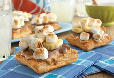 Don't be bored by your s'mores...try this heavenly version with puff pastry, peanut butter, bananas, chocolate and marshmallows.  It's an easy way to make a good thing great!