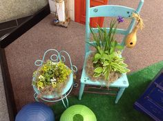 Repurposed garden stool turned into a planted!