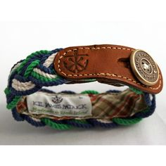Rope Braid Bracelet with Leather, Green/Navy
