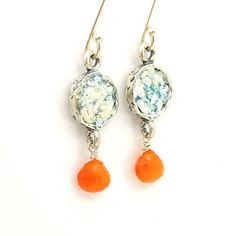 Carnelian earrings hanging under round roman glass by Hadas1951, $69.00