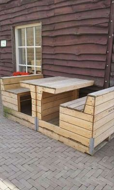 Picnic table made out of pallets.