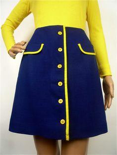 Ultra Mod Graphic Linen button up mini skirt in by HuzzarHuzzar, £24.00