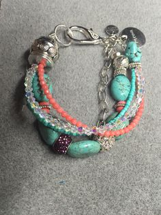 Beautiful coral and turquoise bracelet