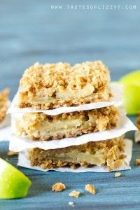 Layered Apple Oatmeal Bars are an easy apple dessert. Apple slices are stuffed between a soft, buttery, brown sugar oatmeal crust and topping.