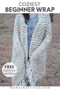 Beginner Blanket Scarf Free Knitting Pattern – Sedona Shawl Beginner Blanket Scarf Free Knitting Pattern – Sedona Shawl,Free Knitting Patterns This is a completely beginner friendly knit shawl pattern! Easy Knitting Projects, Easy Knitting Patterns, Knitting For Beginners, Free Knitting, Knitting Machine, Shrug Knitting Pattern, Beginner Knit Scarf, Knit Wrap Pattern, Cowl Patterns