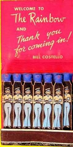 The Rainbow Club with sailor waitresses on ea. matchstick.