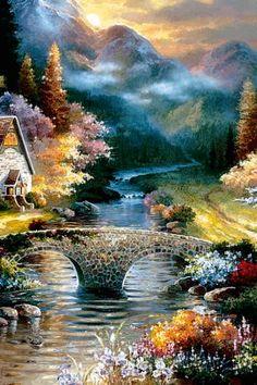 Download Animated 320x480 «Пасторальный пейзаж» Cell Phone Wallpaper. Category: Nature