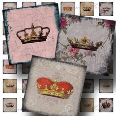 Grunge Pink Crowns 1 inch square Digital Collage Sheet - Buy 3 sheets and get 4th FREE - Printable Download