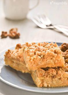 Tarta de crema de manzana y crumble de nueces
