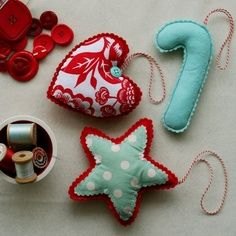 Turquoise and red fabric Christmas decorations.