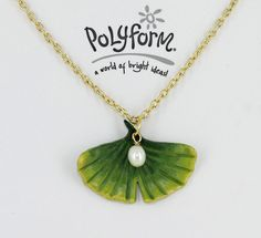 Model Air Porcelain Clay Graduated Color Ginko Leaf Necklace