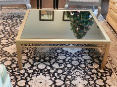 updated gold leaf coffee table diy mirror added