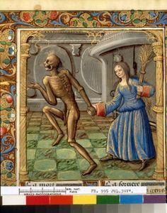 Français 995, fol. 39v_Martial d'Auvergne_Danse macabre des femmes_Allégorie Danse macabre_Paris_1500-1510c_BnF