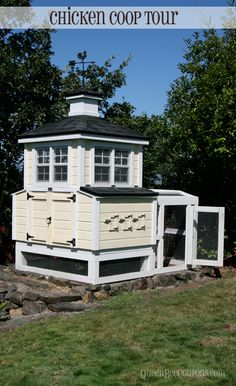 Beautiful custom chicken coop with windows, shingles and kid-level peek-a-boo doors