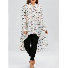 Plus Size Butterfly Print Chiffon Long Sleeve High Low Top - White - Plus Size Blouses, Plus Size Tops, Plus Size Dresses, Plus Size Outfits, Print Chiffon, Chiffon Shirt, Chiffon Tops, Cheap Plus Size Clothing, Plus Clothing