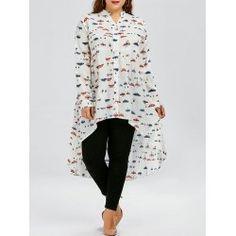 Plus Size Butterfly Print Chiffon Long Sleeve High Low Top - White - Plus Clothing, Trendy Plus Size Clothing, Plus Size Blouses, Plus Size Tops, Plus Size Outfits, Print Chiffon, Chiffon Shirt, Chiffon Tops, Fashion Seasons