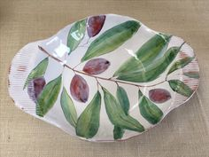 Large Olive Branch Maiolica Platter Handmade Ceramics by Laurie Curtis