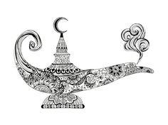 Genie lamp, Aladdin lamp, middle eastern lamp, wishing lamp, magic genie lamp, magic lamp, exotic orient art, zentangle genie lamp,
