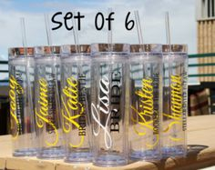 SALE 6 Skinny Personalized Bridesmaid Tumblers by MileHighGifts